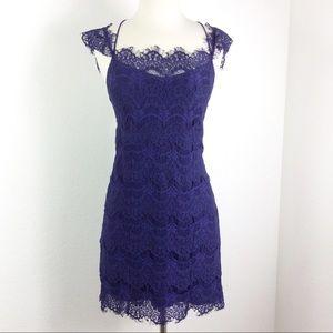 Free People / Purple Lace Crisscross Bodycon S